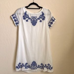 Lulu's white and blue embroidered dress